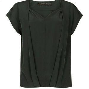 All Saints Silky Draped Eveline V-Neck Top Blouse